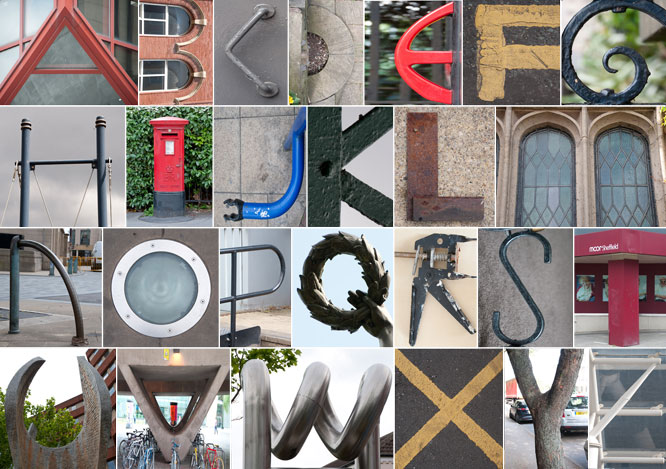 photo letters arranged in grid