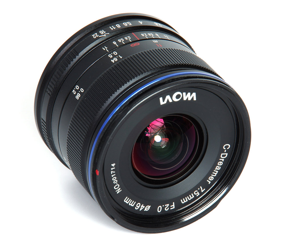 Laowa 7,5mm F2 Front Oblique View