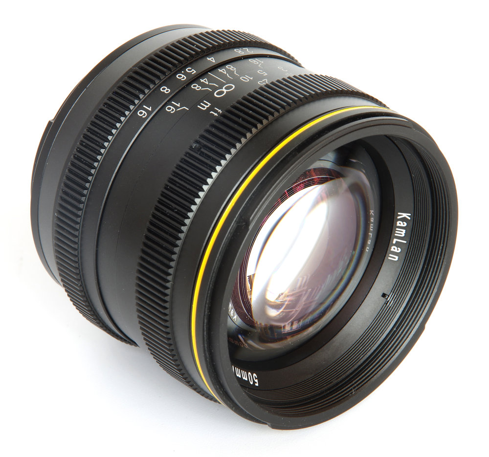 Kamlan 50mm F1,1 Front Oblique View