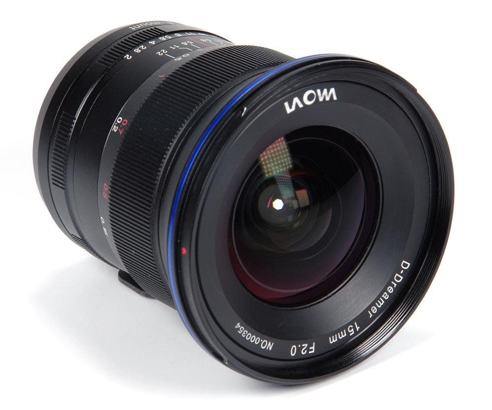 Laowa 15mm F2 Front Oblique View