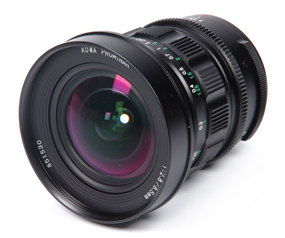 Kowa Prominar 8,5mm F2,8 Front Oblique View